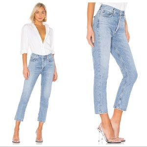 AGOLDE Riley High Rise Crop Jeans in BLUR SIZE 32